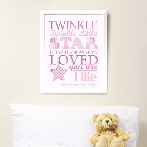 Personalised Twinkle Girls Poster White Frame